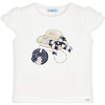 Kleidung Mädchen T-Shirts Mayoral Kids Camiseta m/c volante manga Crd-marino Beige
