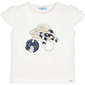 Kleidung Mädchen T-Shirts Mayoral Camiseta m/c volante manga Crd-marino beige