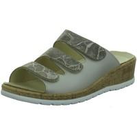 Schuhe Damen Pantoffel Longo Pantoletten Pantolette im Materialmix 1044724 beige