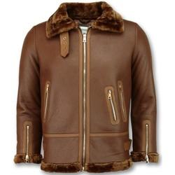 Kleidung Damen Lederjacken / Kunstlederjacken Z Design Lammy Coat Shearling Jacket Da Braun