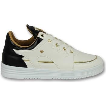 Schuhe Herren Sneaker Low Cash Money E Schnür Turnschuh Luxury White Black Weiß