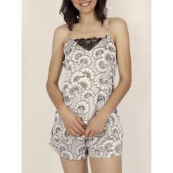 Kleidung Damen Pyjamas/ Nachthemden Admas Pyjama kurzes Mieder Weiße Blumen grau Hellgrau