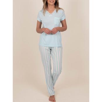 Kleidung Damen Pyjamas/ Nachthemden Admas Innenbekleidung Pyjamahose T-Shirt Classic Stripes blau Blau