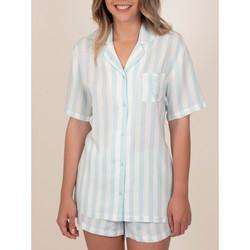 Kleidung Damen Pyjamas/ Nachthemden Admas Pyjamahemd kurz Classic Stripes blau Blau