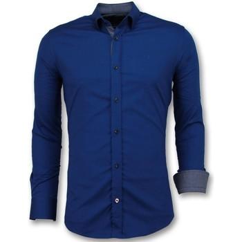 Kleidung Herren Langärmelige Hemden Tony Backer Business Langarm Bluse Slim Blau