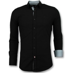 Kleidung Herren Langärmelige Hemden Tony Backer Business Langarm Bluse Schwarz