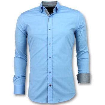 Kleidung Herren Langärmelige Hemden Tony Backer Slim Overhemd Mannen Blouse Licht W Blau