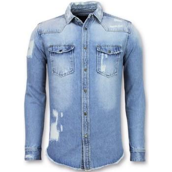 Kleidung Herren Langärmelige Hemden Enos Lange Jeans Bluse Denim Shirt Blau