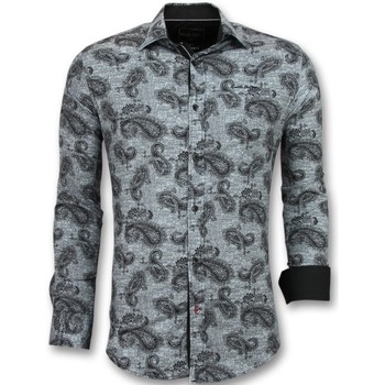 Kleidung Herren Langärmelige Hemden Tony Backer Business Bedruckte Grau
