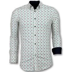 Kleidung Herren Langärmelige Hemden Tony Backer Tetris Motiv Shirt Beige