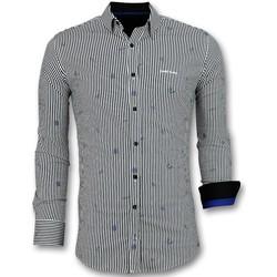 Kleidung Herren Langärmelige Hemden Tony Backer Business Langarm Hemd Mit Streifen Weiß