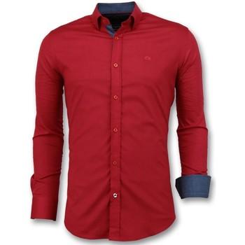 Kleidung Herren Langärmelige Hemden Tony Backer Italienische Business Bluse Rot
