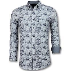 Kleidung Herren Langärmelige Hemden Tony Backer Hemd Elegant Paisley Bluse Weiß, Grau