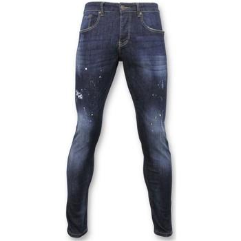 Kleidung Herren Slim Fit Jeans True Rise Pants Jeans Mit Farbflecken D Blau