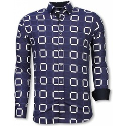 Kleidung Herren Langärmelige Hemden Tony Backer Italienische Slim Fi Bluse Blockmuster Blau