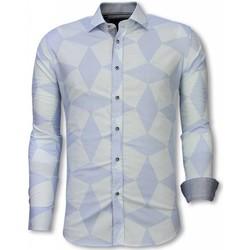 Kleidung Herren Langärmelige Hemden Tony Backer Italienische Slim Hemd Bluse Linienmuster Hell Blau