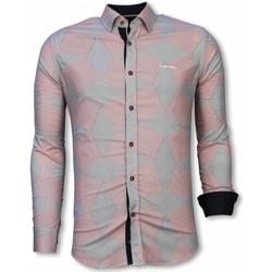 Kleidung Herren Langärmelige Hemden Tony Backer Italienische Slim Hemd Bluse Linienmuster Rosa