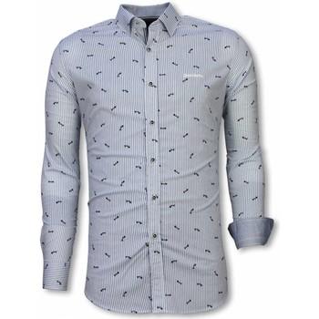 Kleidung Herren Langärmelige Hemden Tony Backer Italienische Slim Hemd Bluse Fishbone Pattern Hell Blau