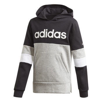 Kleidung Jungen Sweatshirts adidas Performance YB LIN CB HD FL Schwarz / Grau