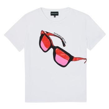 Kleidung Mädchen T-Shirts Emporio Armani 6H3T7T-3J2IZ-0100 Weiss