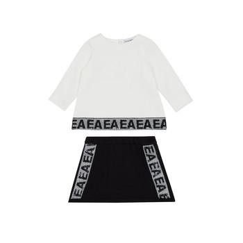 Kleidung Mädchen Kleider & Outfits Emporio Armani 6HEV08-3J3PZ-0101 Weiss / Schwarz