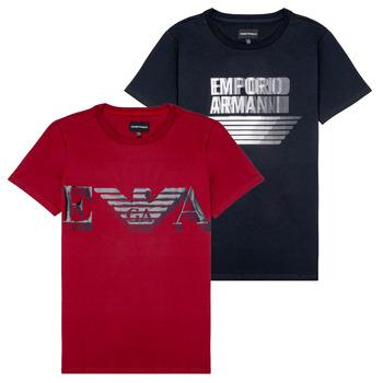 Kleidung Jungen T-Shirts Emporio Armani 6H4D22-4J09Z-0353 Schwarz / Rot