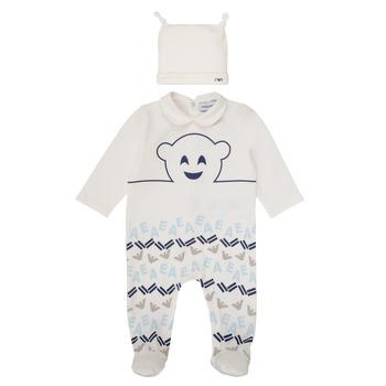 Kleidung Jungen Pyjamas/ Nachthemden Emporio Armani 6HHV08-4J3IZ-0101 Weiss / Blau