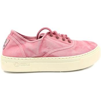Schuhe Damen Sneaker Low Natural World Basket Platform Rosa 603-6112E Rose