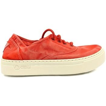 Schuhe Damen Sneaker Low Natural World Basket Platform Rouge 652-6112E Rot
