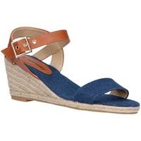 Schuhe Damen Leinen-Pantoletten mit gefloch Top Way B807743-B6600 Azul