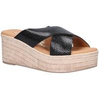 Schuhe Damen Leinen-Pantoletten mit gefloch Oh My Sandals 4723-CR2 Negro