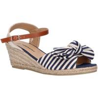 Schuhe Damen Leinen-Pantoletten mit gefloch Top Way B269193-B6600 Azul