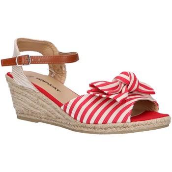 Schuhe Damen Leinen-Pantoletten mit gefloch Top Way B269193-B6600 Rojo