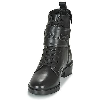Pepe jeans MALDON LOGO Schwarz - Kostenloser Versand    - Schuhe Boots Damen 13500