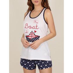 Kleidung Damen Pyjamas/ Nachthemden Admas Pyjama-Shorts Tank-Top Papier Boot weiss Weiß