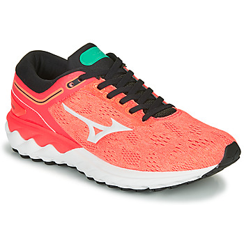Schuhe Damen Laufschuhe Mizuno WAVE SKY RISE Korallenrot