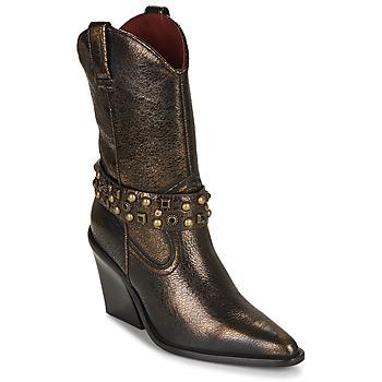 Schuhe Damen Low Boots Bronx NEW KOLE Schwarz / Gold