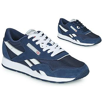 Schuhe Sneaker Low Reebok Classic CL NYLON Marine / Weiss