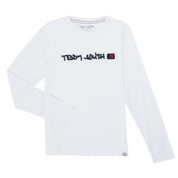 Kleidung Jungen Langarmshirts Teddy Smith CLAP Weiss