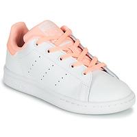 Schuhe Mädchen Sneaker Low adidas Originals STAN SMITH C Weiss / Rose