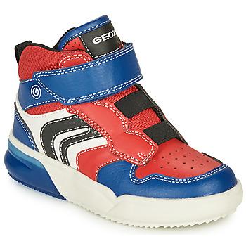Schuhe Jungen Sneaker High Geox GRAYJAY Rot / Blau