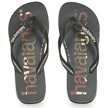 Schuhe Zehensandalen Havaianas Top Logomania Schwarz