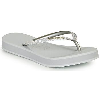 Schuhe Damen Zehensandalen Havaianas SLIM FLATFORM GLITTER Silbern