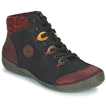 Schuhe Damen Boots Rieker 52513-36 Schwarz / Bordeaux