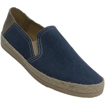 Schuhe Herren Leinen-Pantoletten mit gefloch Made In Spain 1940 Turnschuhe aus geschlossenem Hanf für He Blau