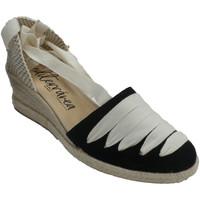 Schuhe Damen Leinen-Pantoletten mit gefloch Calzamur Hanfschuh mit valencianischen Bändern Ca Schwarz