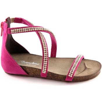 Schuhe Mädchen Sandalen / Sandaletten Bottega Artigiana Handwerksbetrieb 3977 FUXIA baby girl Zip-Heel Sandaletten Stras Rosa