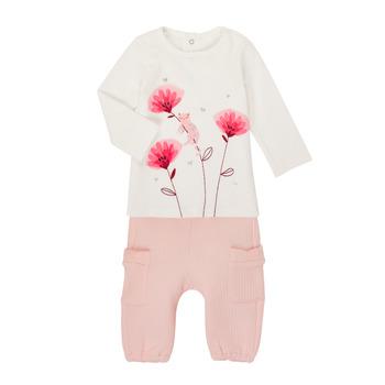 Kleidung Mädchen Kleider & Outfits Catimini CR36001-11 Weiss / Rose