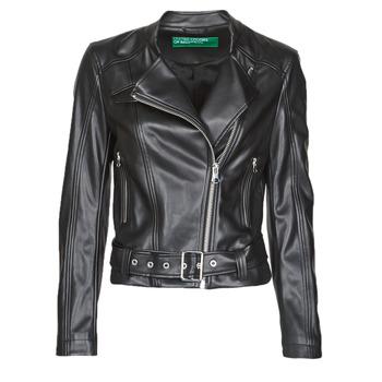 Kleidung Damen Lederjacken / Kunstlederjacken Benetton 2ALB53673 Schwarz