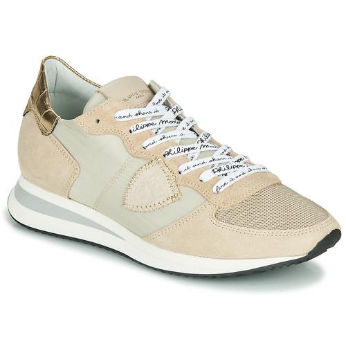 Schuhe Damen Sneaker Low Philippe Model TROPEZ X MONDIAL CROCO Beige